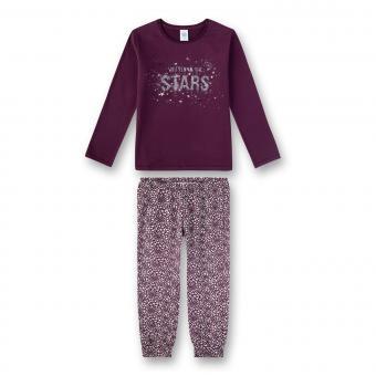 Sanetta Mädchen Schlafanzug Langarm Stars brombeer/gemustert - 244555