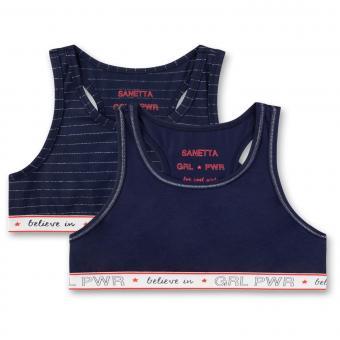 Mädchen Teens Bustier 2er Pack, dunkelblau einfarbig & gestreift girlpower - 345716