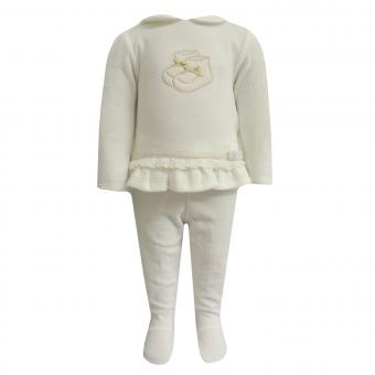 Baby Mädchen Zweiteiler Pullover und Hose, natur