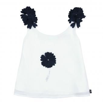 Boboli Mädchen T-Shirt ärmellos mit Gaze-Stickerei Blume, weiß - 727332