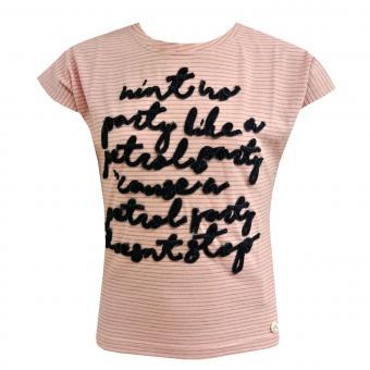 T-Shirt Mädchen gestreift, lachs - G-SS17-TSR071