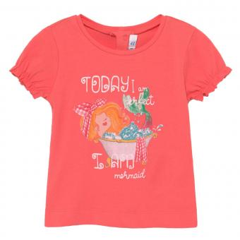 "Mädchen Baby T-Shirt Sommershirt kurzarm geraffte Ärmel ""Badenixe"", lachs - 1087coral"