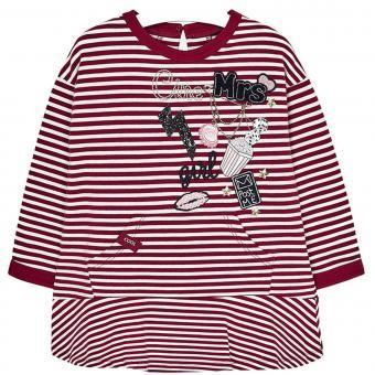 Mädchen Kleid mit langen Armen  Winterkleid mit Motiv, weiß-rot - 4.977wr