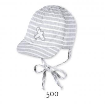 Baby Schildmütze zum Binden Base Cap Jungen gestreift Flugzeug, grau
