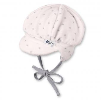 Baby Mädchen Mütze Schirmmütze zum binden mit Ohrenschutz Sterne von Sterntaler, rosa - 4501734