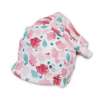 Mädchen Sommer Kopftuch mit Schirm bunte Blumen ,ecru -1452120