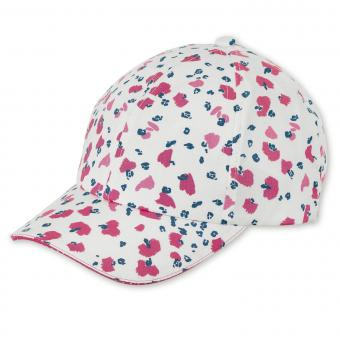 "Mädchen Baseball Cap Cappi Sonnenhut mit LSF UV-Schutz 50+ ""gemustert"", weiß-pink – 1422001"