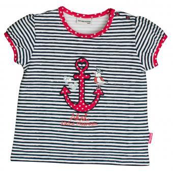Salt&Pepper Mädchen T-Shirt gestreift kurzarm mit Anker-Motiv, dunkelblau – 93212233db
