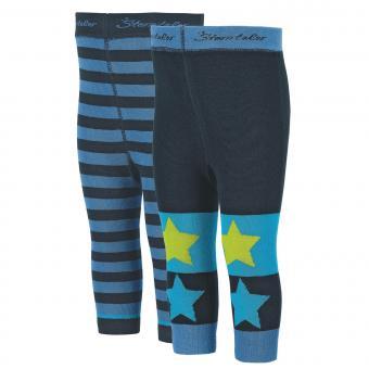 Jungen Baby Kinder Leggins Doppelpack gestreift Sterne/Ringel, marine - 8762020-marin