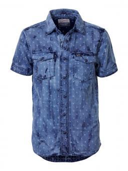 Jungen kurzarm Hemd gemustert Used-Look, hellblau B-SS17-SIS468