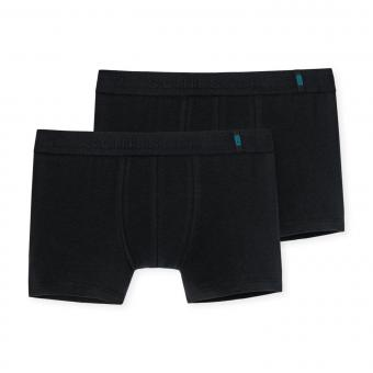 Jungen Schiesser Shorts Unterhosen 2er-Pack einfarbig, schwarz – 159454