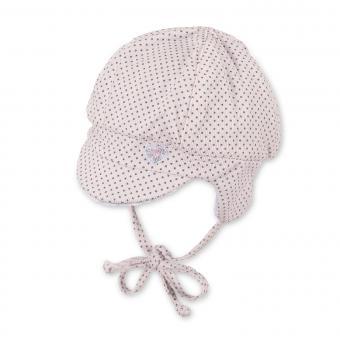 """Baby Mädchen Schirmmütze Erstlingsmütze gefüttert Baumwollfleece Wintermütze zum Binden mit Ohrenschutz gepunktet """"Herz"""", zartrosa - 4401930"""