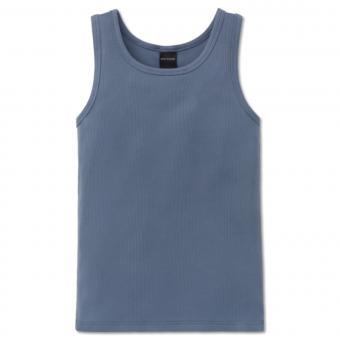 Jungen Unterhemd einfarbig Feinripp, jeansblau - 160179