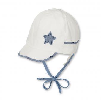 Baby Jungen Schildmütze Schirmmütze zum Binden Sternaufnäher, weiss - 1611810