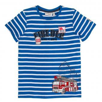 Salt&Pepper Jungen T-shirt kurzarm mit Feuerwehr-Motiv, blau – 93112155