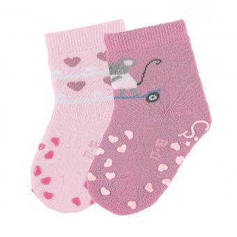 """Mädchen Baby 2 Paar ABS-Krabbelsöckchen gefüttert Anti-Rutsch-Socken Doppelpack """"Maus/Herzen"""", rosa - 8012024"""