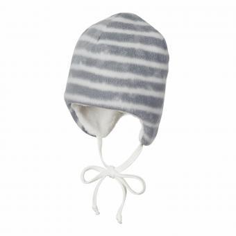 Baby Jungen Wintermütze mit Ohrenschutz zum Binden gestreift gefüttert Mikrofleece, rauchgrau - 4501845