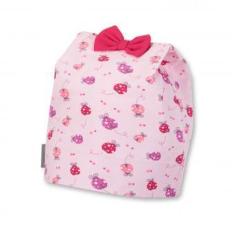 Mütze Mädchen Marienkäfer und Schleife, rosa - 1411851