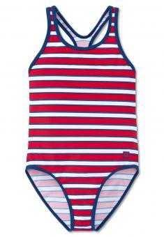 Sportlicher Mädchen Badeanzug Schulsport Schwimmunterricht gestreift, rot - 160601