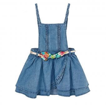 Mädchen Latzrock mit Gürtel abnehmbar, jeansblau - 3.910