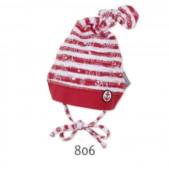 Knotenmütze gestreift zum Binden Mütze Jungen, rot