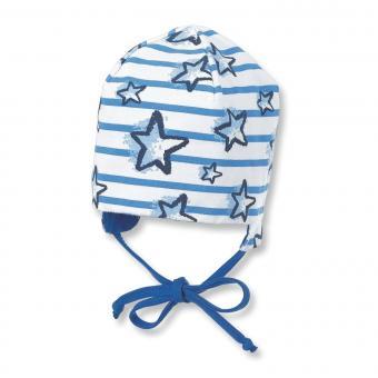 Baby Jungen Wendemütze zum binden mit Ohrenschutz gestreift Sterne, blau - 1501804