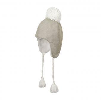 Mädchen Wintermütze Inka-Mütze zum Binden mit Bommel Fleecefutter, kiesel - 4411825