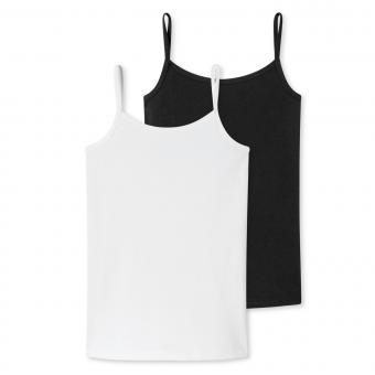 Mädchen Unterhemd Spaghetti-Träger Doppelpack, weiß/schwarz - 173527