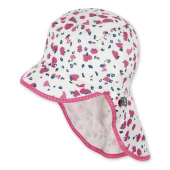 """Mädchen Schirmmütze mit Nackenschutz Sommermütze """"gefleckt"""", pink-mattweiß – 1422023"""