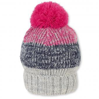 Mädchen Strickmütze Wintermütze mit Microfleece und Bommel, pink grau - 4721916