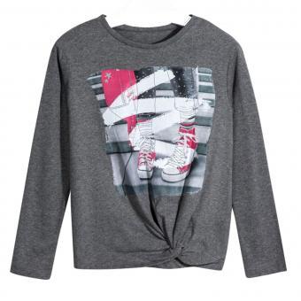 """Mädchen Shirt Langarmshirt Rundkragen Print """"Sneaker"""" Knoten Desgin, dunkelgrau-meliert - 7.078"""