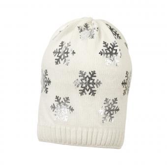 Mädchen Mütze Wintermütze Strick mit glitzernden Schneeflocken, beige - 4721826