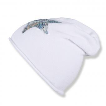 Mädchen Mütze, Strickmütze, weiß, Stern - 1721910