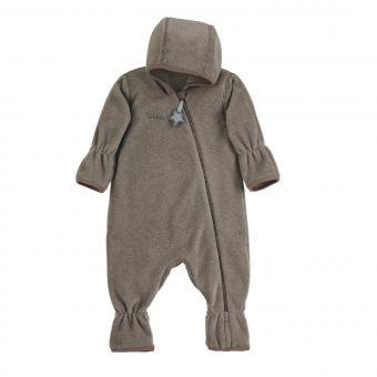 Baby Overall Jungen Fleece mit Reißverschluss Hand- und Fußstulpen, braun mel. - 5501800-braun
