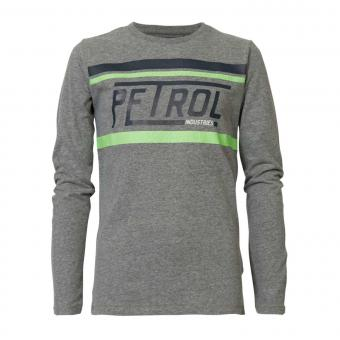 Jungen Langarmshirt Sweatshirt T-Shirt Petrol Ind. mit Aufschrift und Neonstreifen, grau mel. - B-3090-TLR608