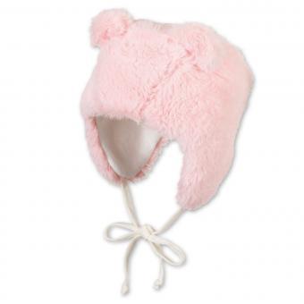 Mädchen Baby Inka-Mütze Wintermütze zum Binden mit Teddy-Ohren und Baumwollfleecefutter, zartrosa - 4401926