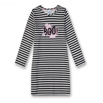 Mädchen Nachthemd Knielang mit Helloween Motiv gestreift, schwarz-weis - 232222