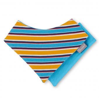 Dreieck Halstuch mit Klettverschluss Baby gestreift, blau-gelb