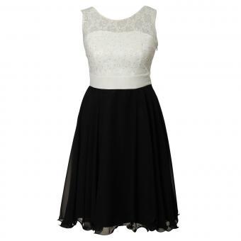 Festliches Chiffon-Kleid mit Stola, Spitze und Perlen am Vorderteil, durchsichtige Träger, Mädchen, schwarz-weiß - 1371600sw