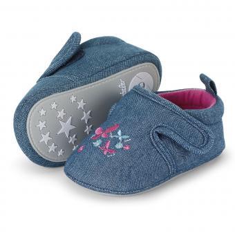 """Mädchen Baby Kinder Schuhe Krabbelschuhe mit Klettverschluss und rutschfester Sohle für innen und außen """"Schmetterlinge"""", marineblau – 2302065"""