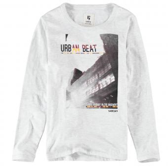 """Garcia Jungen T-Shirt Langarmshirt mit Aufdruck """"Urban Beat"""", weiß grau meliert - I93400 625"""