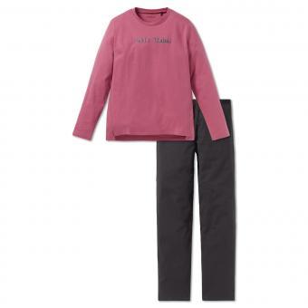 Mädchen Schlafanzug Langarm mit Schriftzug Let´s Rebel, pink - 163229