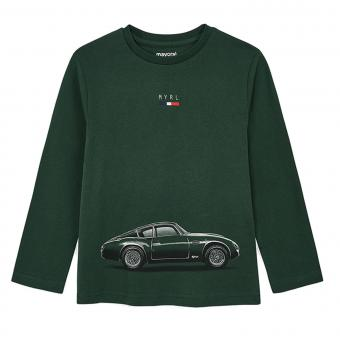 """Jungen T-shirt Langarmshirt mit Rundkragen """"schickes Auto"""", grün - 4.046tanne."""