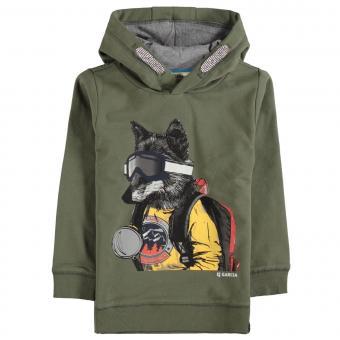 """Jungen Sweater Sweatshirt langärmlig mit Kapuze """"Wolf"""", grün - V05660"""
