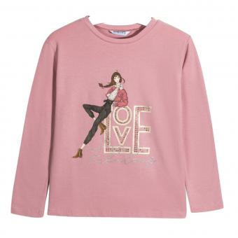 "Mädchen Shirt Langarmshirt Print ""Love Fabulous"" Glitzersteine, rosa - 7.068-rosa"