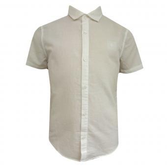 Jungen Hemd kurzarm festlich Leinenhemd, weiß - 870