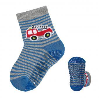 """Jungen Fliesen Flitzer, Anti-Rutsch-Socken, blau grau """"Feuerwehr"""" - 8031904"""