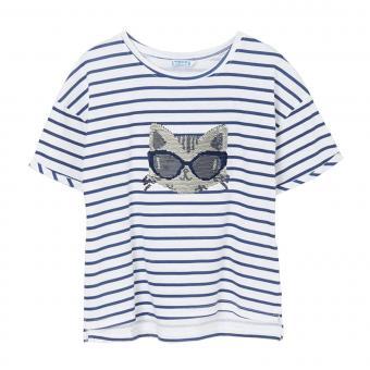 """Mädchen Sommer T-Shirt gestreift Pailletten """"Katze"""" weiß/dunkelblau -6018"""