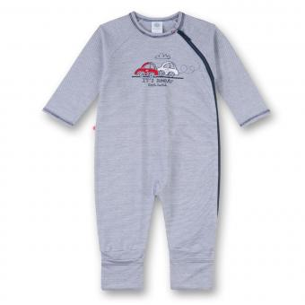 """Jungen Baby Schlafanzug Body Biobaumwolle, blau gestreift """"Autos"""" - 221447"""
