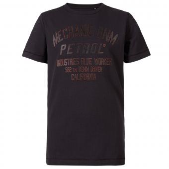 Jungen T-Shirt, Kurzarmshirt, Petrol Ind., schwarz mit Schriftzug - TSR632